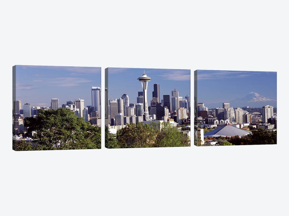 City viewed from Queen Anne Hill, Space Needle, Seattle, King County, Washington State, USA 2010 by Panoramic Images 3-piece Canvas Print