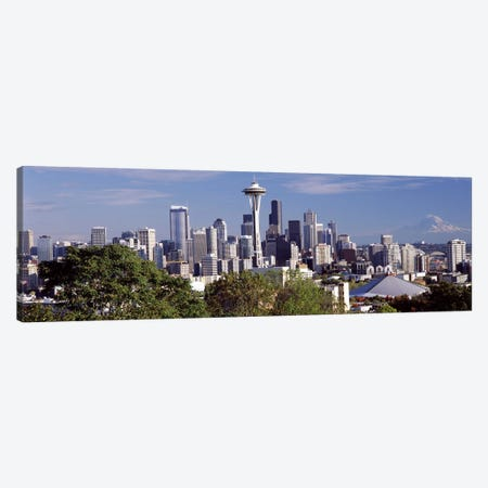 City viewed from Queen Anne Hill, Space Needle, Seattle, King County, Washington State, USA 2010 3-Piece Canvas #PIM8145} by Panoramic Images Canvas Print