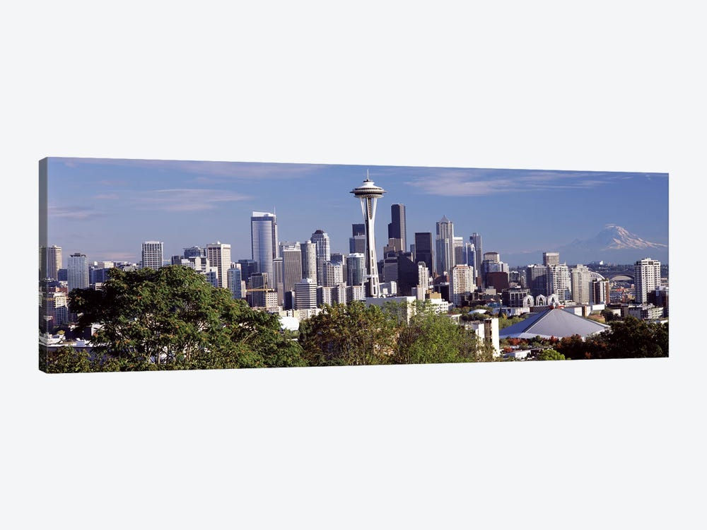 City viewed from Queen Anne Hill, Space Needle, Seattle, King County, Washington State, USA 2010 by Panoramic Images 1-piece Canvas Print