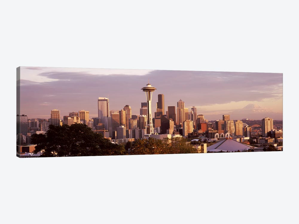 City viewed from Queen Anne HillSpace Needle, Seattle, King County, Washington State, USA by Panoramic Images 1-piece Canvas Artwork