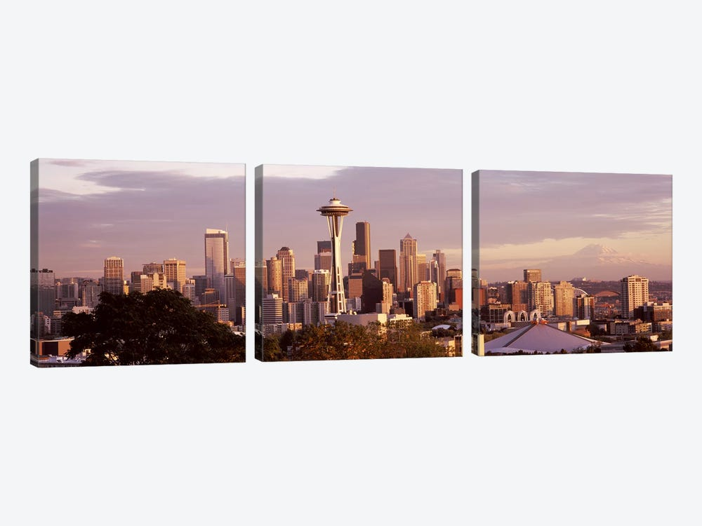 City viewed from Queen Anne HillSpace Needle, Seattle, King County, Washington State, USA by Panoramic Images 3-piece Canvas Artwork