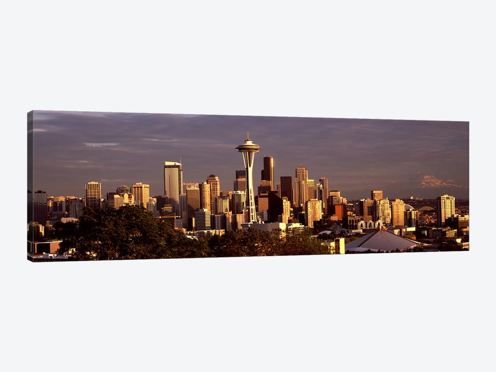 City viewed from Queen Anne Hill, Space Needle, Seattle, King County, Washington State, USA 2010 #2 by Panoramic Images 1-piece Canvas Print