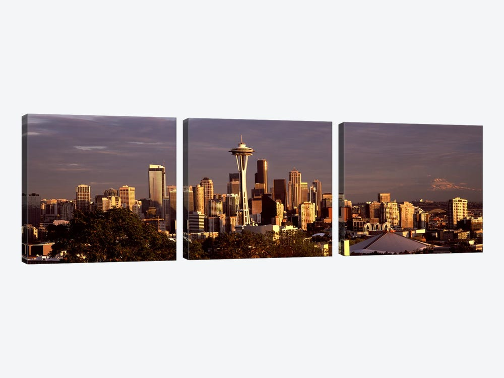 City viewed from Queen Anne Hill, Space Needle, Seattle, King County, Washington State, USA 2010 #2 by Panoramic Images 3-piece Canvas Art Print