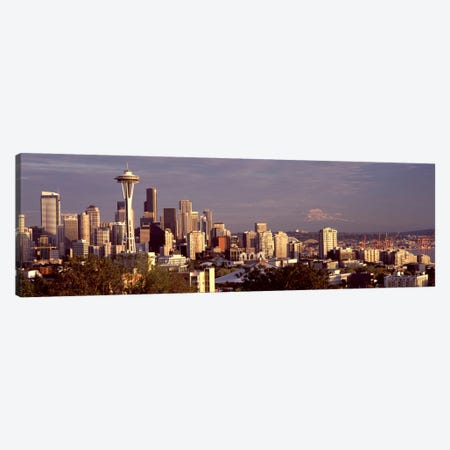 City viewed from Queen Anne Hill, Space Needle, Seattle, King County, Washington State, USA 2010 #3 3-Piece Canvas #PIM8148} by Panoramic Images Canvas Art