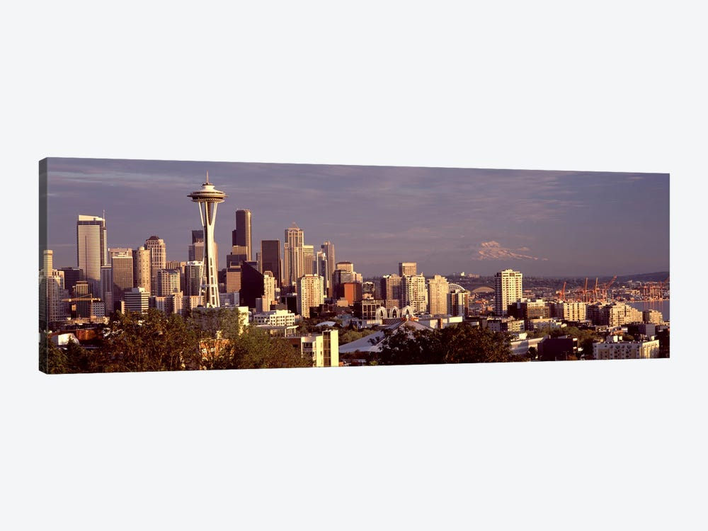 City viewed from Queen Anne Hill, Space Needle, Seattle, King County, Washington State, USA 2010 #3 by Panoramic Images 1-piece Canvas Art