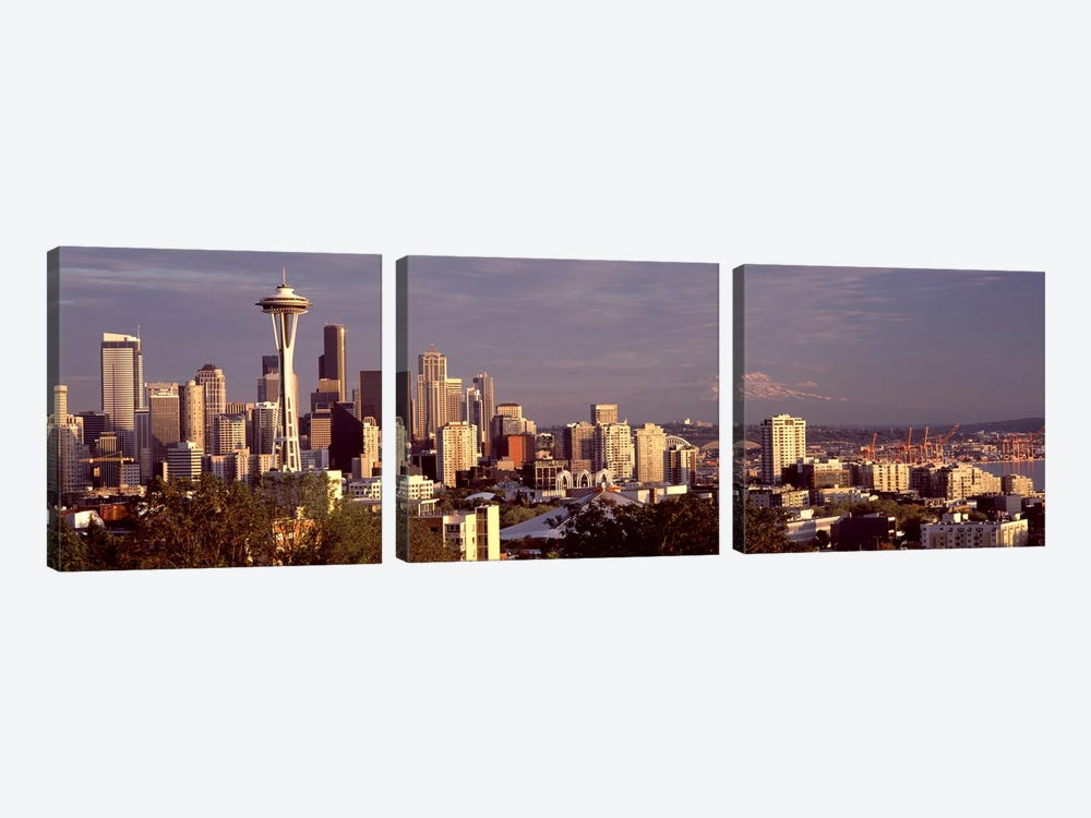 City viewed from Queen Anne Hill, Space Needle, Seattle, King County, Washington State, USA 2010 #3 by Panoramic Images 3-piece Canvas Art