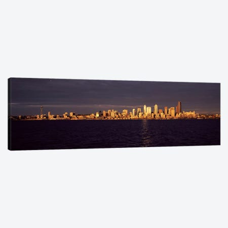 City viewed from Alki Beach, Seattle, King County, Washington State, USA Canvas Print #PIM8150} by Panoramic Images Art Print