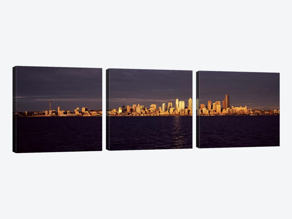 City viewed from Alki Beach, Seattle, King County, Washington State, USA by Panoramic Images 3-piece Canvas Art Print