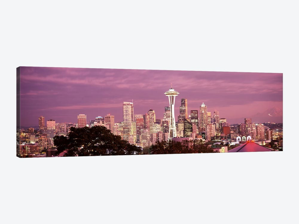 City viewed from Queen Anne Hill, Space Needle, Seattle, King County, Washington State, USA 2010 #5 by Panoramic Images 1-piece Canvas Artwork