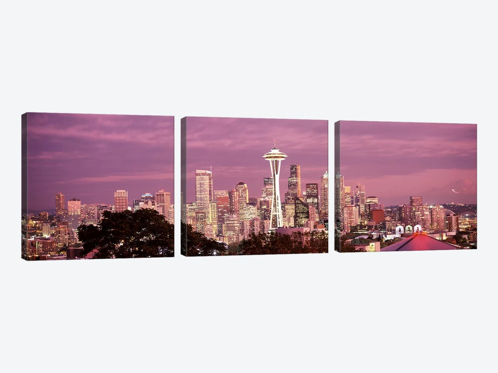 City viewed from Queen Anne Hill, Space Needle, Seattle, King County, Washington State, USA 2010 #5 by Panoramic Images 3-piece Canvas Wall Art