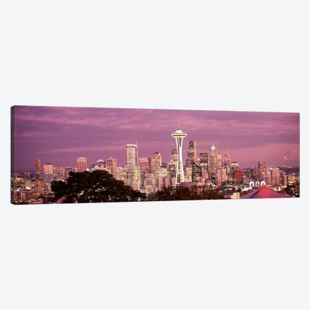City viewed from Queen Anne Hill, Space Needle, Seattle, King County, Washington State, USA 2010 #5 3-Piece Canvas #PIM8151} by Panoramic Images Canvas Print