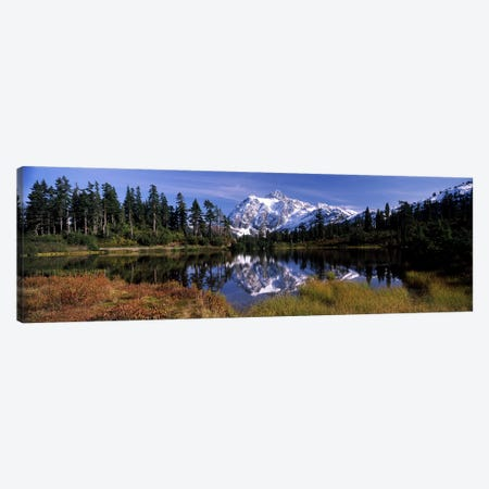 Reflection of mountains in a lake, Mt Shuksan, Picture Lake, North Cascades National Park, Washington State, USA Canvas Print #PIM8152} by Panoramic Images Art Print