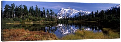 Reflection of mountains in a lake, Mt Shuksan, Picture Lake, North Cascades National Park, Washington State, USA Canvas Print #PIM8152