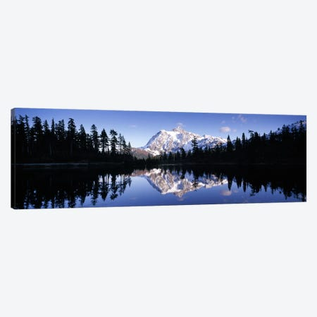 Reflection of mountains in a lake, Mt Shuksan, Picture Lake, North Cascades National Park, Washington State, USA #2 Canvas Print #PIM8155} by Panoramic Images Canvas Art