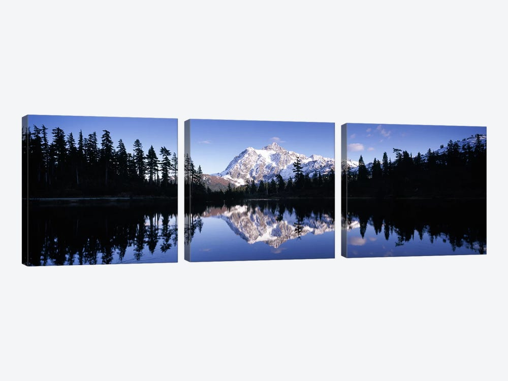 Reflection of mountains in a lake, Mt Shuksan, Picture Lake, North Cascades National Park, Washington State, USA #2 by Panoramic Images 3-piece Canvas Wall Art