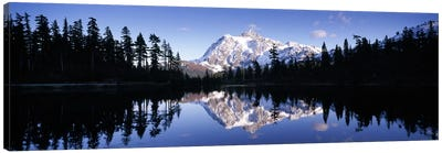 Reflection of mountains in a lake, Mt Shuksan, Picture Lake, North Cascades National Park, Washington State, USA #2 Canvas Art Print
