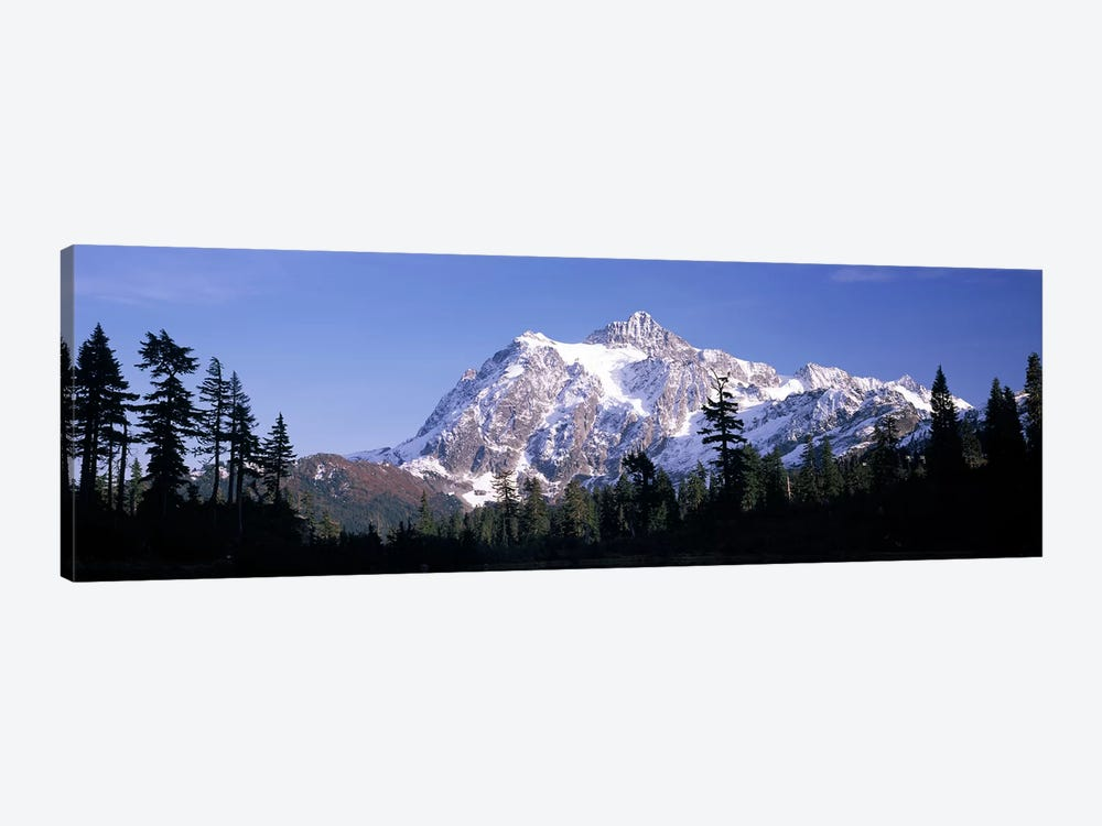 Mountain range covered with snow, Mt Shuksan, Picture Lake, North Cascades National Park, Washington State, USA by Panoramic Images 1-piece Canvas Art Print