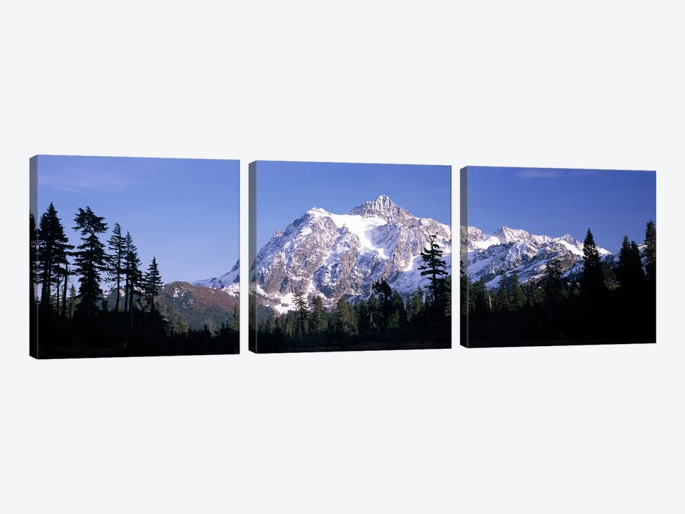 Mountain range covered with snow, Mt Shuksan, Picture Lake, North Cascades National Park, Washington State, USA by Panoramic Images 3-piece Canvas Art Print