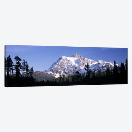 Mountain range covered with snow, Mt Shuksan, Picture Lake, North Cascades National Park, Washington State, USA Canvas Print #PIM8156} by Panoramic Images Canvas Art