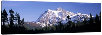 Mountain range covered with snow, Mt Shuksan, Picture Lake, North Cascades National Park, Washington State, USA Canvas Art Print