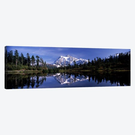Reflection of mountains in a lake, Mt Shuksan, Picture Lake, North Cascades National Park, Washington State, USA #3 Canvas Print #PIM8157} by Panoramic Images Canvas Wall Art
