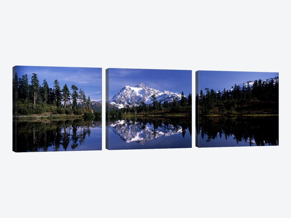 Reflection of mountains in a lake, Mt Shuksan, Picture Lake, North Cascades National Park, Washington State, USA #3 by Panoramic Images 3-piece Canvas Artwork
