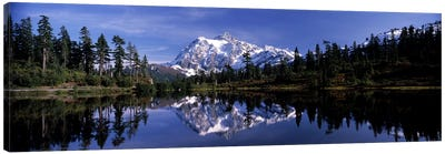 Reflection of mountains in a lake, Mt Shuksan, Picture Lake, North Cascades National Park, Washington State, USA #3 Canvas Art Print