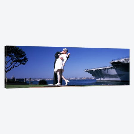 The Kiss between a sailor and a nurse sculpture, Unconditional Surrender, San Diego Aircraft Carrier Museum, San Diego, California, USA Canvas Print #PIM8158} by Panoramic Images Art Print