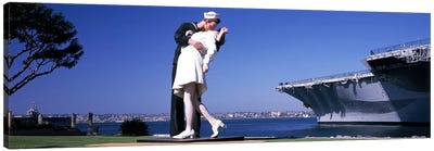 The Kiss between a sailor and a nurse sculpture, Unconditional Surrender, San Diego Aircraft Carrier Museum, San Diego, California, USA Canvas Print #PIM8158