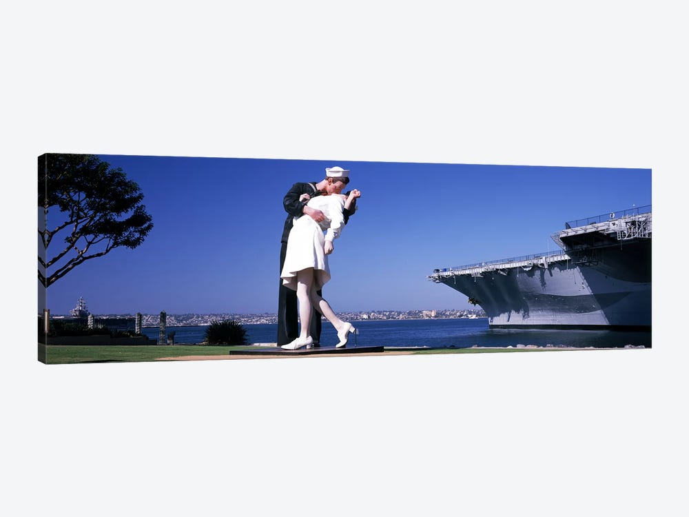 The Kiss between a sailor and a nurse sculpture, Unconditional Surrender, San Diego Aircraft Carrier Museum, San Diego, Californ by Panoramic Images 1-piece Canvas Print