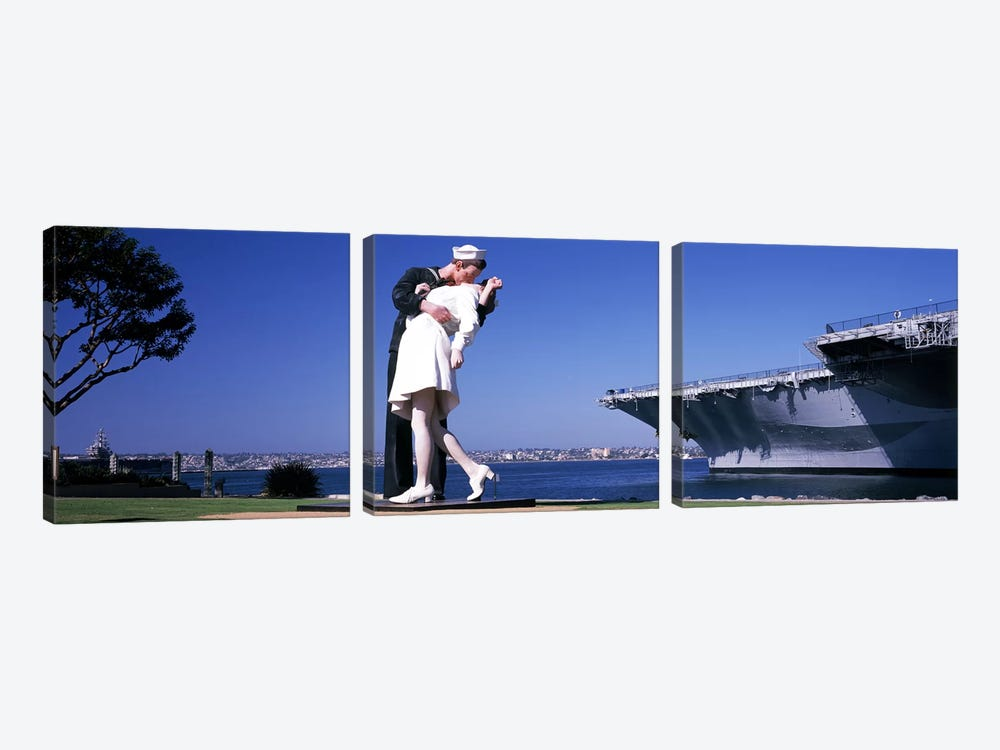 The Kiss between a sailor and a nurse sculpture, Unconditional Surrender, San Diego Aircraft Carrier Museum, San Diego, Californ by Panoramic Images 3-piece Art Print