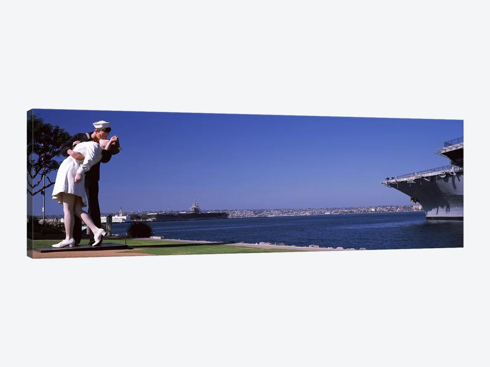 The Kiss between a sailor and a nurse sculpture, Unconditional Surrender, San Diego Aircraft Carrier Museum, San Diego, Californ by Panoramic Images 1-piece Canvas Artwork