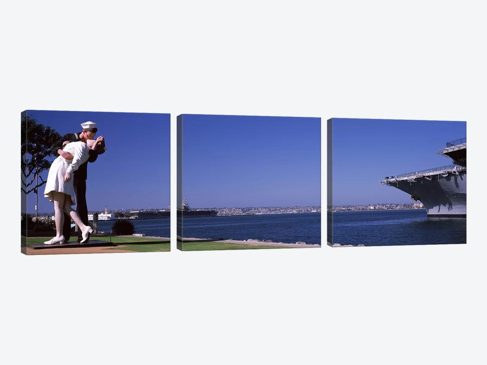 The Kiss between a sailor and a nurse sculpture, Unconditional Surrender, San Diego Aircraft Carrier Museum, San Diego, Californ by Panoramic Images 3-piece Canvas Art
