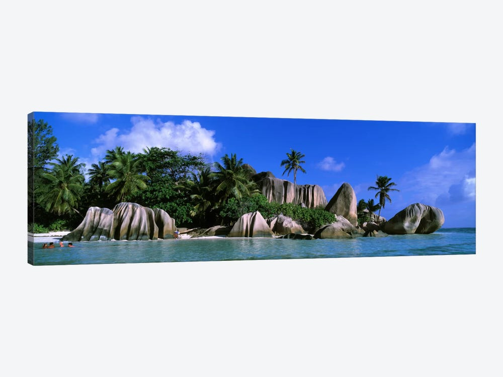 Granite Rock Formation Cluster, Anse Source d'Argent, La Digue, Seychelles by Panoramic Images 1-piece Canvas Print
