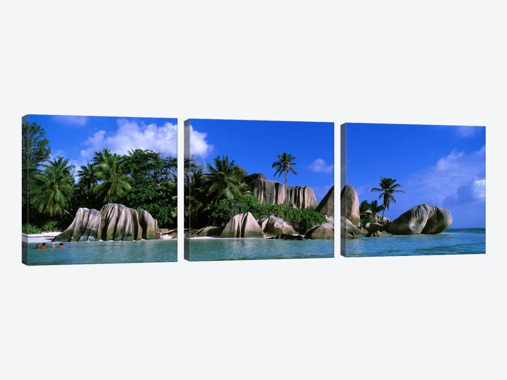 Granite Rock Formation Cluster, Anse Source d'Argent, La Digue, Seychelles 3-piece Art Print