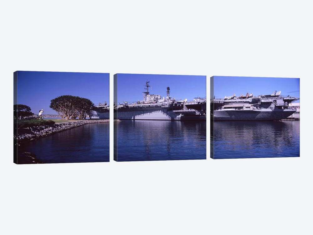 Aircraft carriers at a museum, San Diego Aircraft Carrier Museum, San Diego, California, USA by Panoramic Images 3-piece Canvas Artwork