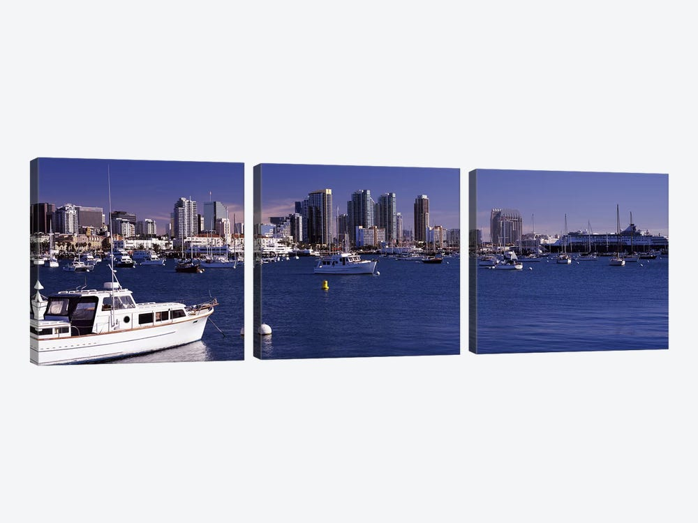 Buildings at the waterfront, San Diego, California, USA 2010 by Panoramic Images 3-piece Art Print