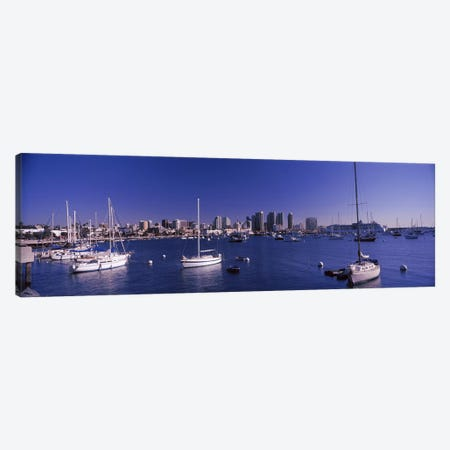 Sailboats in the bay, San Diego, California, USA 2010 Canvas Print #PIM8162} by Panoramic Images Canvas Wall Art