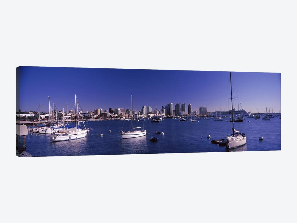 Sailboats in the bay, San Diego, California, USA 2010 by Panoramic Images 1-piece Canvas Art