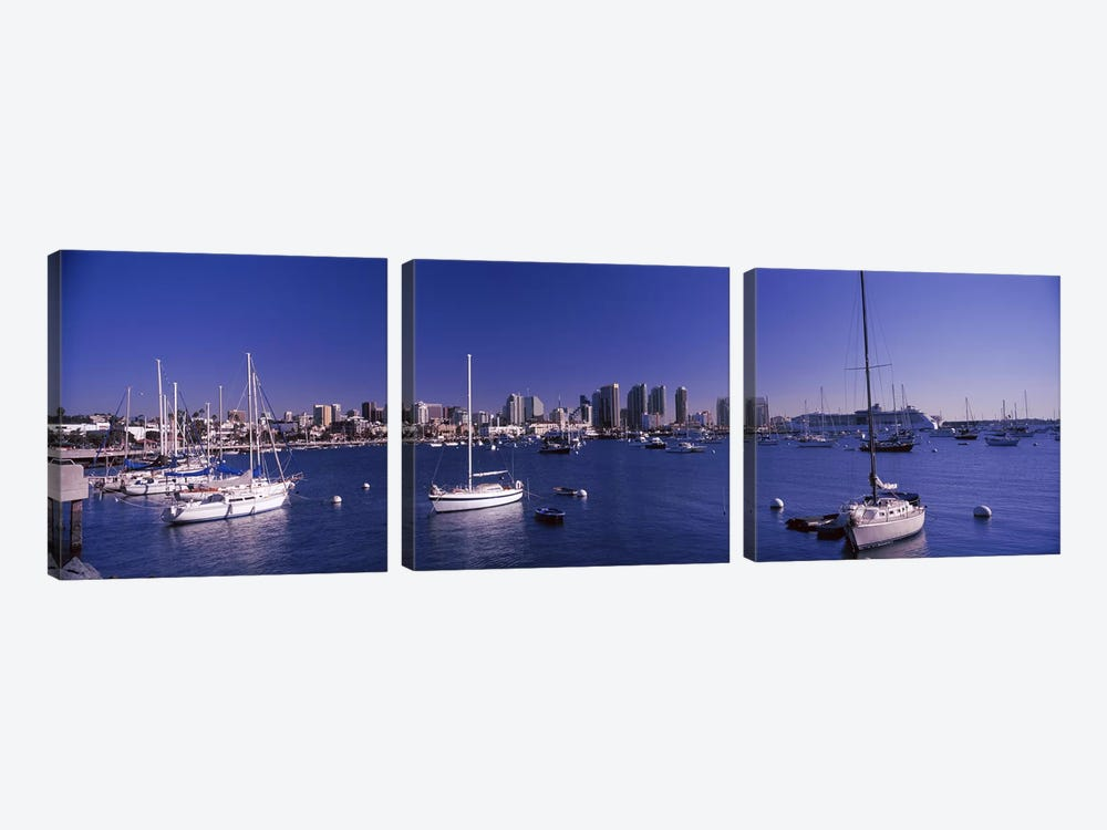 Sailboats in the bay, San Diego, California, USA 2010 by Panoramic Images 3-piece Canvas Wall Art