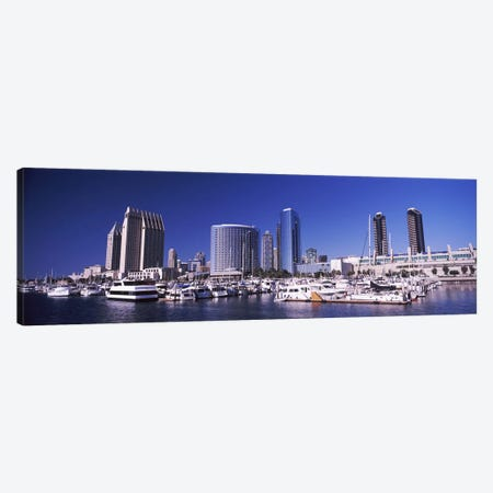 Boats at a harbor, San Diego, California, USA 2010 Canvas Print #PIM8163} by Panoramic Images Canvas Art