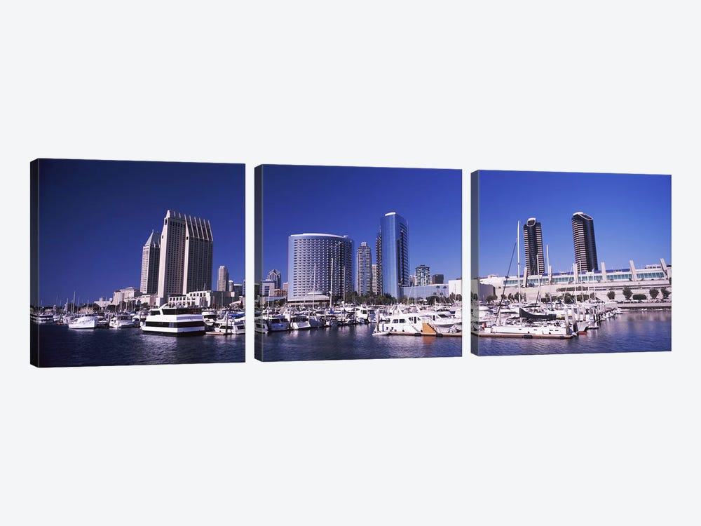 Boats at a harbor, San Diego, California, USA 2010 by Panoramic Images 3-piece Art Print