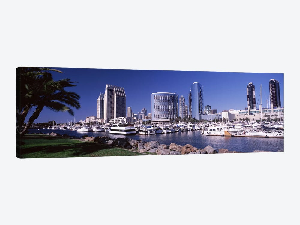 Boats at a harborSan Diego, California, USA by Panoramic Images 1-piece Canvas Wall Art