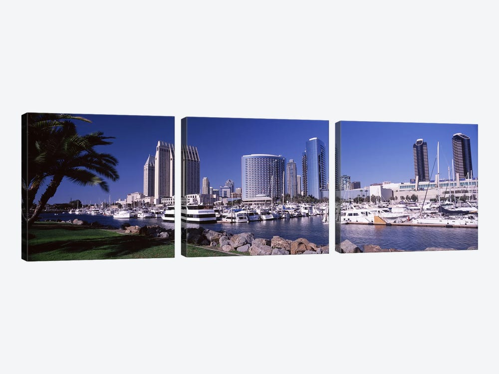Boats at a harborSan Diego, California, USA by Panoramic Images 3-piece Canvas Art
