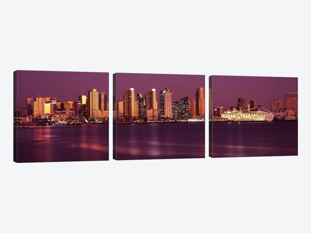 Buildings at the waterfront, San Diego, California, USA 2010 #5 by Panoramic Images 3-piece Canvas Artwork
