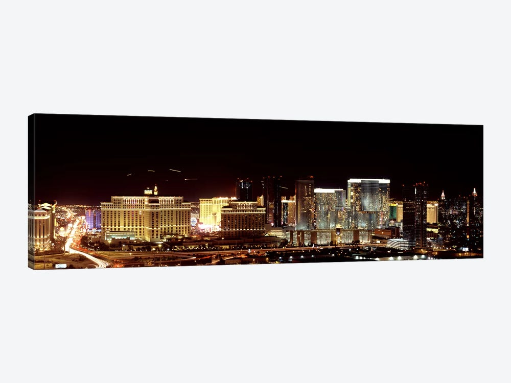 City lit up at night, Las Vegas, Nevada, USA 2010 by Panoramic Images 1-piece Canvas Print