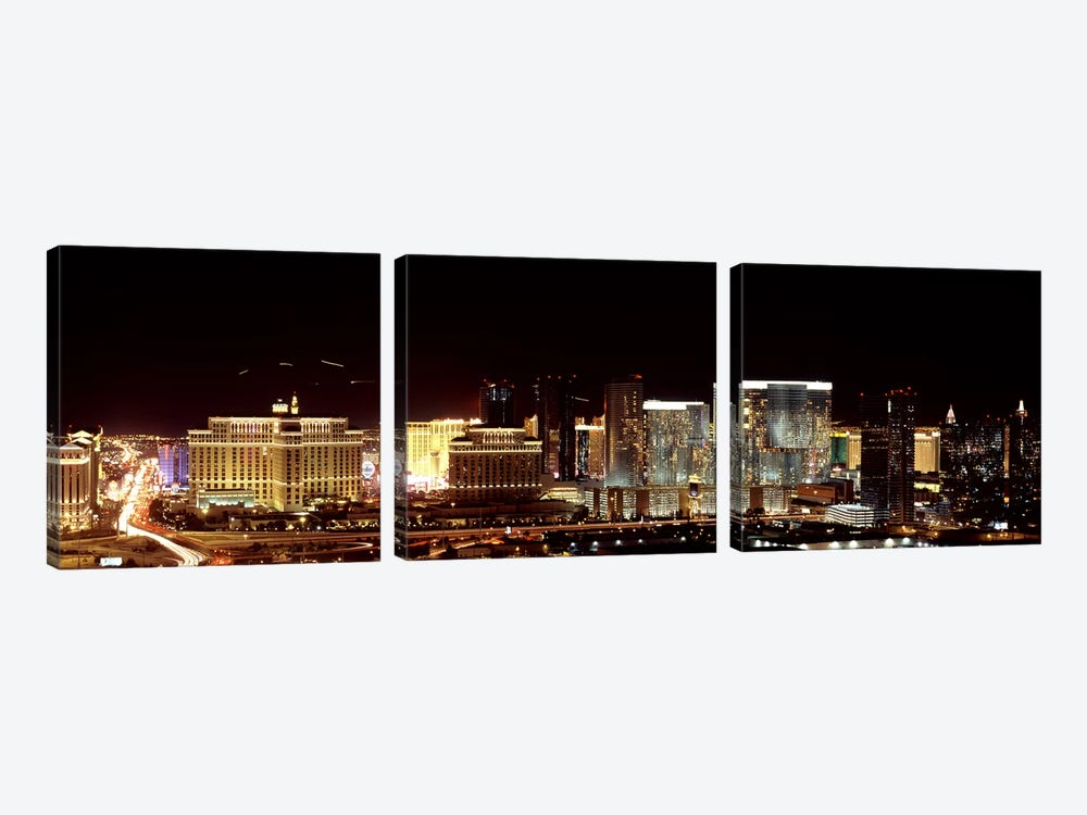 City lit up at night, Las Vegas, Nevada, USA 2010 by Panoramic Images 3-piece Canvas Art Print