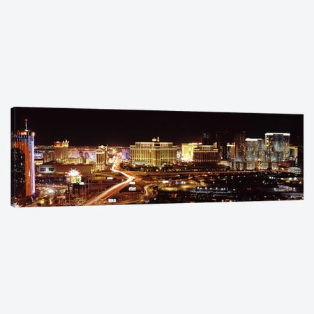 City lit up at night, Las Vegas, Nevada, USA Canvas Print #PIM8173} by Panoramic Images Art Print