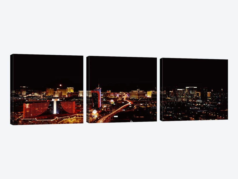 City lit up at night, Las Vegas, Nevada, USA 2010 #2 by Panoramic Images 3-piece Canvas Print