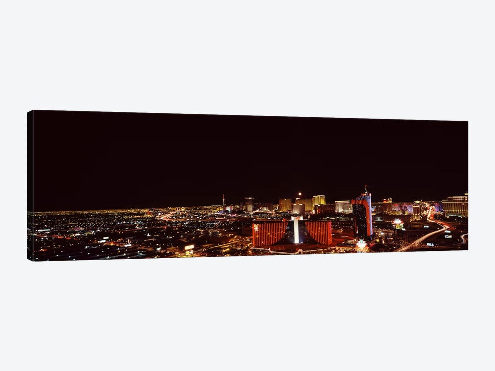 City lit up at night, Las Vegas, Nevada, USA #2 by Panoramic Images 1-piece Canvas Artwork